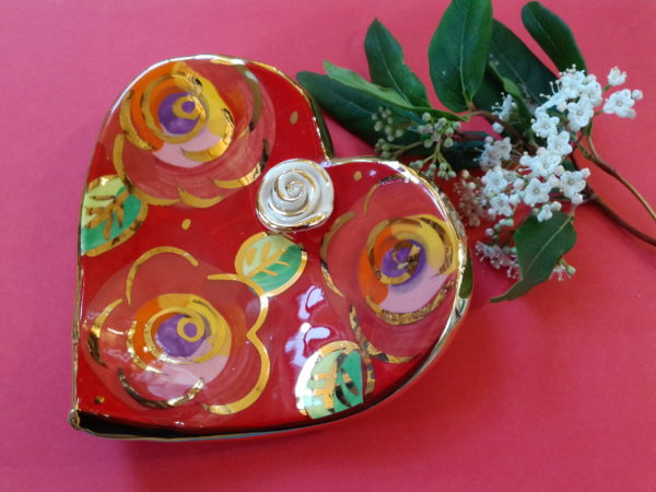 Ceramic heart shaped dish with rose