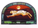 Print of stained glass panel 'The Creggan White Hare'