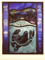 Print of stained glass panel   'The Great Silkie of Sule Skerrie''