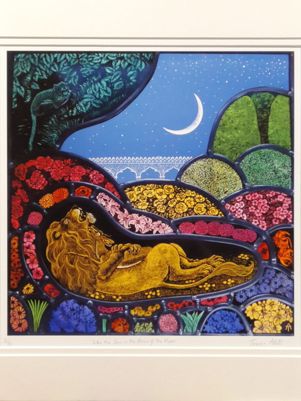 Print of stained glass panel   'Like the Sun in the Arms of the Moon'