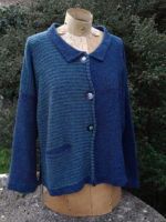 Cardigan 'Aretha' in Matelot and Duck Egg