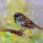 Textile Collage Sparrow on Branch