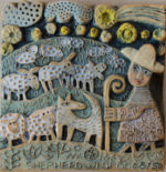 'Shepherd with Dog Ceramic Relief