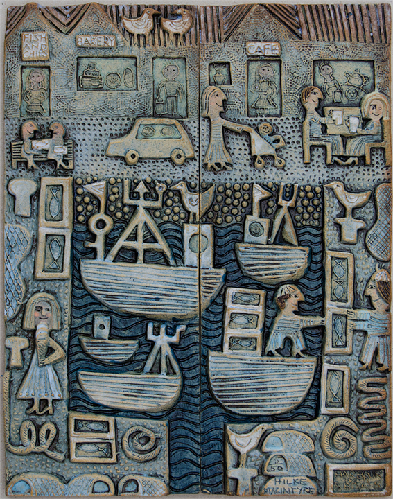 Ceramic Relief Harbour with 5 Boats