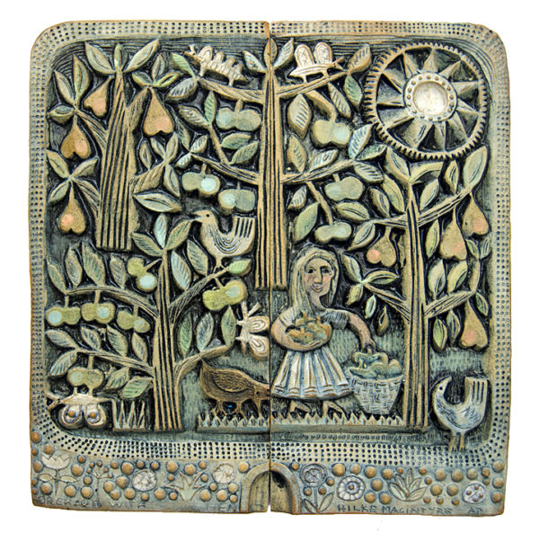Ceramic Relief Orchard with Black Hen