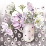Original Watercolour Cosmos in Pink Jug