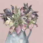 Original Watercolour Hellebores in Spotty Jug