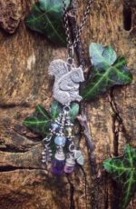 Silver Squirrel pendant with pink sapphire, lilac jade, amethyst