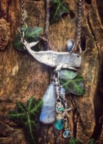 Silver Whale pendant with sapphire, labradorite, apatite, turquoise