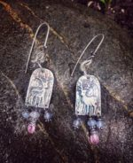 Silver stag earrings with pink sapphire and lilac jade