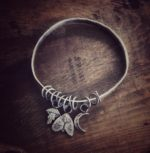 Silver Multi bangle with Moth, Toadstool and Moon dangles