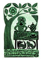 Original Woodcut Print  Tea with Cat and Dog
