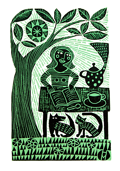 Original Woodcut Print   Tea with Cat and Dog
