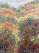Original Textured Mixed Media with Gold Leaf  Summer Meadows