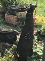 Bronze Resin Moongazer Birdbath Hare