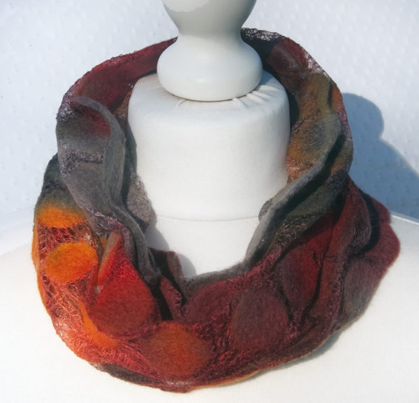 Hand Felted Cowl in Greys and Reds