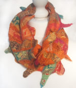 Hand Felted Cowl with Sari Ribbons