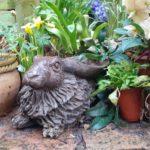 Bronze Resin Resting Birdbath Hare