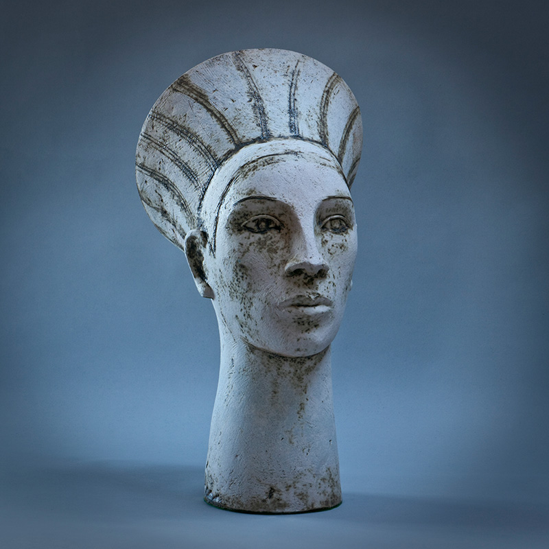 Ceramic Garden Sculpture  White Head