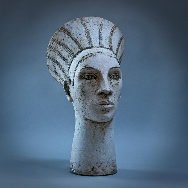 Ceramic Garden Sculpture White Head