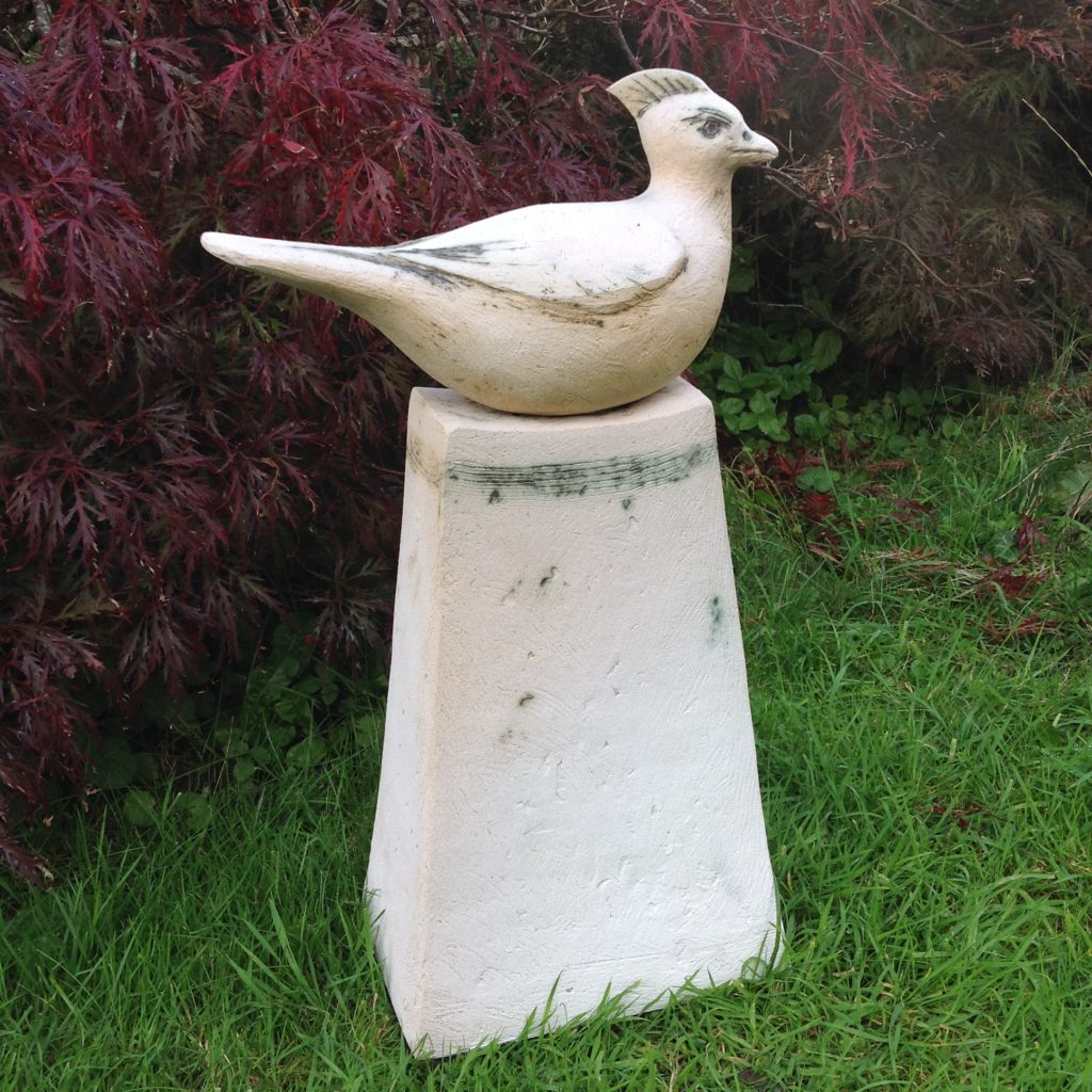 Ceramic Garden Sculpture  White Bird on stand