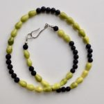 Necklace with Dyed Sea Bamboo and Onyx