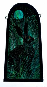 'Bonny Black Hare' Stained Glass Panel