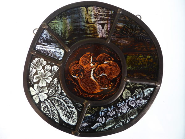 """'""""Stained Glass panel Weasels' Nest"""""""