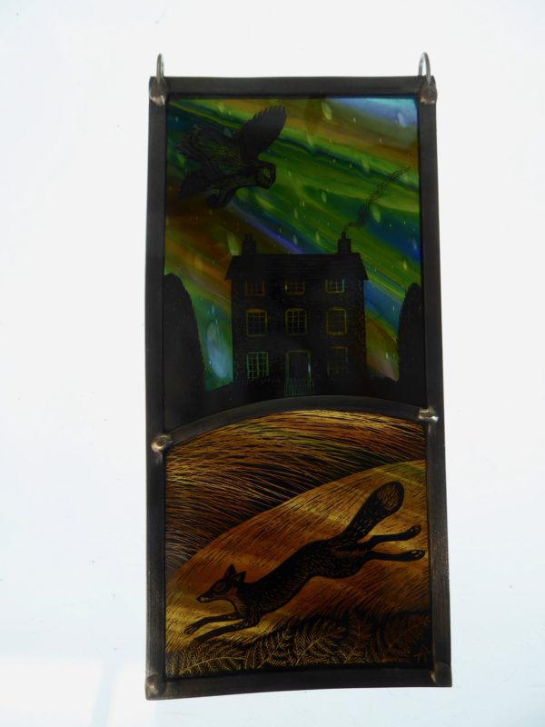 "'""Stained Glass panel  House on the Hill"""