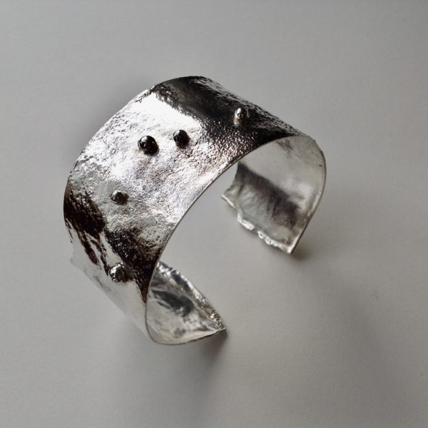 Silver cuff with dots
