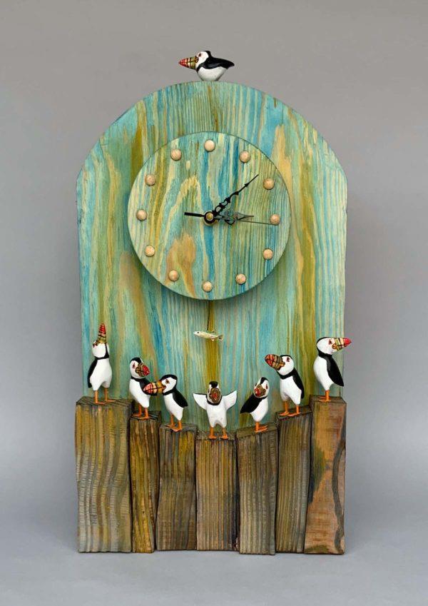 Puffin Clock with Fish Pendulum