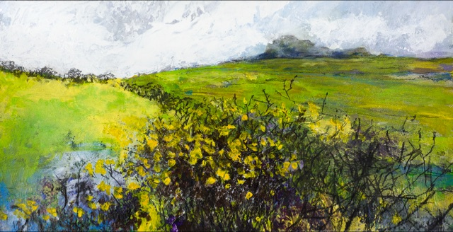 Acrylic and Charcoal Original painting 'Carn Perfedd:Wet Gorse'