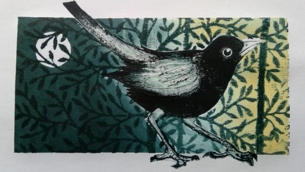 Blackbird Collagraph with monotypes