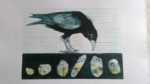 Crow Collagraph with monotypes