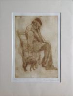 Limited Edition Etching Man & Cat, Crete