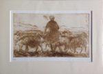 Limited Edition Etching Cretan Woman & Sheep