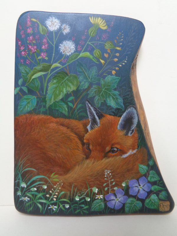 'Summer Fox' Olive-Wood Panel