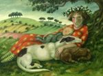 Oil on Canvas -Girl with Dogs and Child