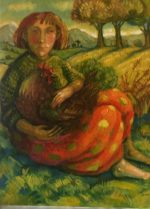 Oil on Board -Sitting Girl with Hen