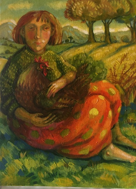 Oil on Board -  Sitting Girl with Hen