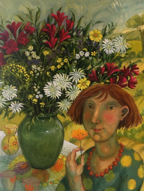 Oil on Canvas -Girl with Flowers