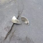 Silver Triangular Planished Teardrop Stud Earrings