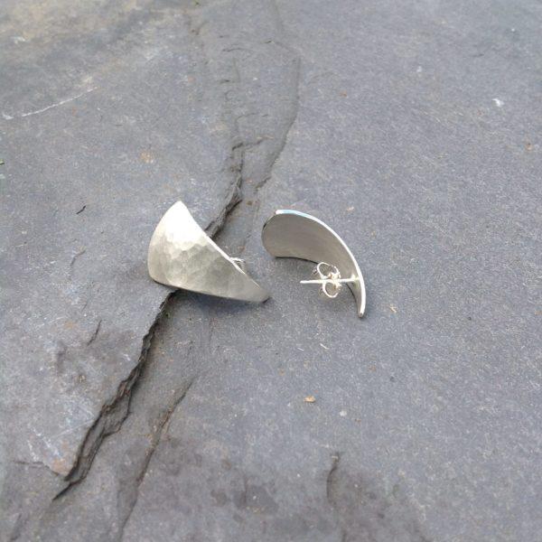 Silver Triangular Planished Teardrop Stud Earrings