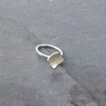 Silver hammered ring with square detail