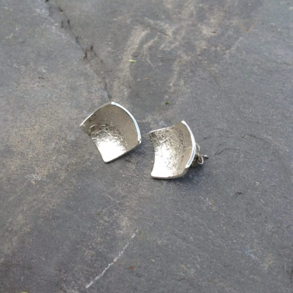 Silver Fine Rustic polished Square Stud Earrings