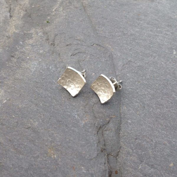 Silver Rustic Frosted Square Stud Earrings