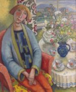 Oil on Canvas Tea Table with Flowers