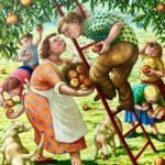 Oil on Canvas Apple Pickers with Children