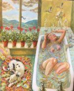 Oil on Canvas In the Bath with Geraniums