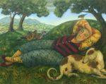 Oil on Canvas Man Sleeping with Birds